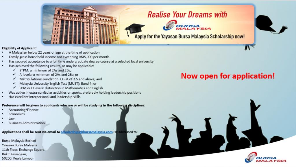 Permohonan Biasiswa Yayasan Bursa Malaysia Tahun 2021