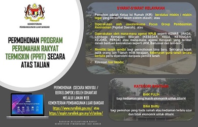 Permohonan Program Perumahan Rakyat Termiskin (PPRT) Online